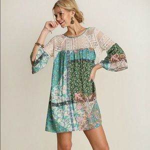 NWT Umgee Floral Crochet Tunic Dress